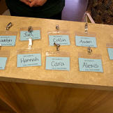 The Gosselin's volunteer badges for Second Harvest Gray, TN HQ.