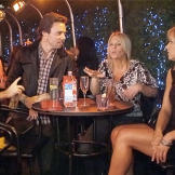 Kate (right) and her friend Jamie (second from right) chat with some o