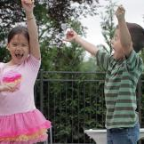 Hannah and Joel jump for joy over the official opening of the Gosselin