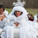 For her winter wonderland wedding, bride Annie dons white fur.