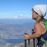 Amy Roloff takes in the amazing view from her climb of Mount St. Helen