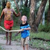 Aaden lends a hand at Aboriginal Village in Muru Mittigar.