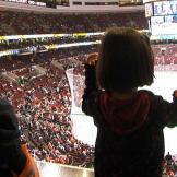 Leah and Aaden Gosselin cheer the Philadelphia Flyers.