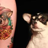 Megan tattoos her dog - Beatrix Elenor Longbody - onto Taylor.