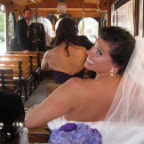 KT on a Savannah trolley en route to her wedding