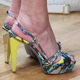 Stacy's wild and bright heels are a loud summer style, as the bold yel