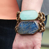Turquoise Chain Bracelet and Navy Chain Bracelet from