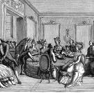 """Franz Anton Mesmer (1734-1815) was an 18th-century German doctor who might just be considered the King of Quacks. This illustration shows Mesmer's consulting room in Paris, where after publication of his first major work on so-called """"animal magnetism,"""""""