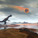 A dinosaur looks up as a massive meteor falls through the sky 65 milli