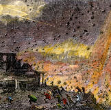This hand-colored woodcut depicts the destruction of the ancient city