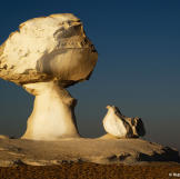 The White Desert in Egypt is dominated by strange formations: ancient coral reefs carved and shaped by wind-blown sand.