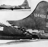 Demonstrating its ruggedness, this B-17 is shown flying (insert) stead