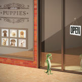 The GEICO Gecko has an idea. Train some puppies for the big game!