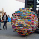 """In 2009's YouTube Special, Kari, Grant and Tory -- with the help of volunteers -- built a giant ball made of Legos and attempted to roll it down a hill. (The key word here being """"attempted."""")"""
