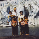 John, wife Erma, and their children in front of the Mendenhall Glacier in Juneau. They traveled to the Alaskan capital to join in the celebration for statehood in 1959. During this period of his life, John had also served as the mayor of Haines.
