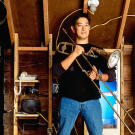 """Grant Imahara's first MythBusters episode as a cast member was May 2005's """"Hollywood on Trial""""."""