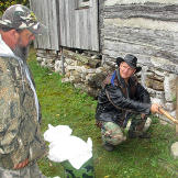 Ernie Brown, Jr., the Turtleman, and Neal James find the critter's ent