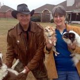 Ernie Brown, Jr., the Turtleman, and homeowner Linda Jangula pose with