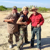 Turtleman and Neal with Alamo Village Property Manager, Rich Curilla.