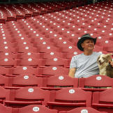 Turtleman enjoys the view of the Great American Ballpark.