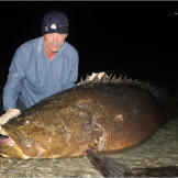 Jeremy Wade holds a goliath grouper that he caught in a Florida channe