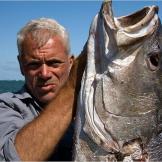 Jeremy Wade holds a dusky kob, a giant fish found in the Zambezi River.