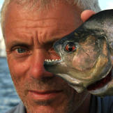 Jeremy Wade with a 1-pound black piranha, the largest of the roughly 4