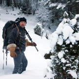Les Stroud heads off into the dark woods of Norway.