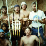 Fish caught by hand and spear on a primitive living skills field cours