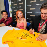 Grant, Kari and Tory met, took photographs with and signed items for f