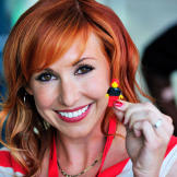 Kari Byron with her custom Lego minifig at Comic Con 2010.