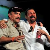 Johnathan and Keith call a truce to have fun on the 2010 Captains' Pan