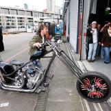 Rick rolls the Deadliest Catch Bike into Seattle's Bell Harbor Confere