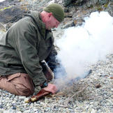 Dave shows how to get a fire going with the sparking percussion action