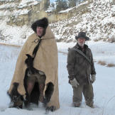 Taking on the role of unlucky ranchers, Cody gets the buffalo hide tha