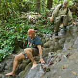 Cody and Dave prepare to set out on their Thai rain forest adventure t