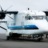 The largest plane in the fleet, a C-23 Sherpa, on the airfield at Barrow, Alaska. It has a maximum payload of 7,000 pounds, but when fully loaded the Sherpa burns through so much aviation fuel that the cargo has to be high-value or essential.