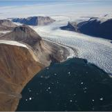 Aerial view of Rinks Glacier on the west coast of Greenland.