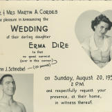 The 1950 wedding announcement for John and his sweetheart Erma Cordes. This playful design was the work of Erma's sister.