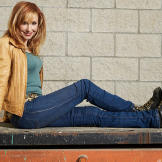 Kari Byron poses for a Discovery Channel shoot on the MythBusters set
