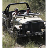 The Hawkes driving deep into the African bush.