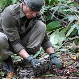 The jungles of Peru are teaming with wildlife, and Mykel manages to catch a large, albeit smelly, snake. It's hard work to clean the snake, but the high-protein meat will give the Hawkes much-needed energy to withstand the extreme physical demands of survival.