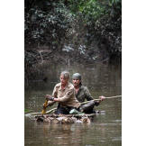 The Hawkes struggle through an Amazonian tributary on a make-shift raft, with two primitive paddles, as they try to find their way to some form of civilization. Traveling on foot through the jungle for any distance is nearly impossible, so rivers are the highways of the Amazon -- and life lines for survivors.