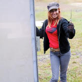 She may be a vegetarian, but that doesn't mean Kari Byron doesn't enjoy a day at the gun range.