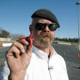 Jamie Hyneman shows off the tire spikes used to thwart a pursuing vehi