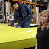 Grant Imahara and Kari Byron pose with what will be their substitute s