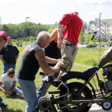 Paul Sr. and the Orange County Choppers crew prepare to launch a dummy