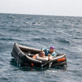 Cody and Dave are next forced to drift in an emergency raft while keep