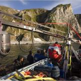 Using a gyro-stabilized camera to film walrus hunters.