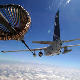 A U.S. Navy S-3 Viking aircraft refuels another S-3 Viking aircraft during routine flight operations over the Caribbean Sea.